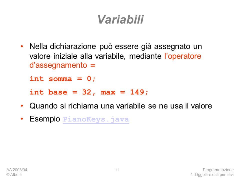 Variabili Nella dichiarazione può essere già assegnato un valore iniziale alla variabile, mediante l'operatore d'assegnamento =