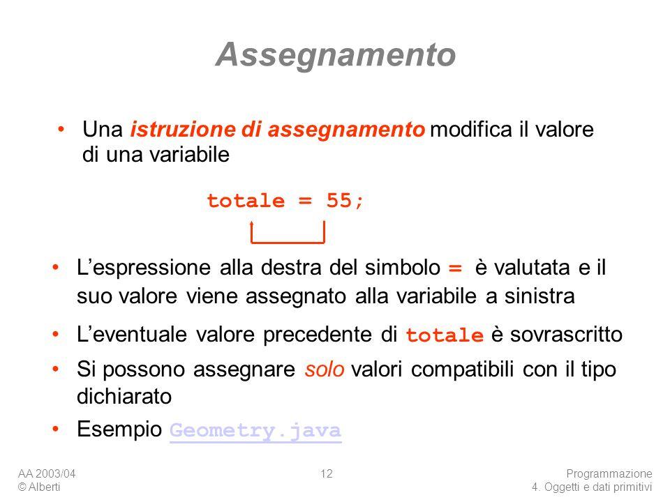 Assegnamento Una istruzione di assegnamento modifica il valore di una variabile. totale = 55;
