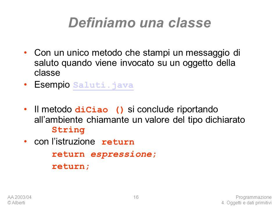 Definiamo una classe Con un unico metodo che stampi un messaggio di saluto quando viene invocato su un oggetto della classe.