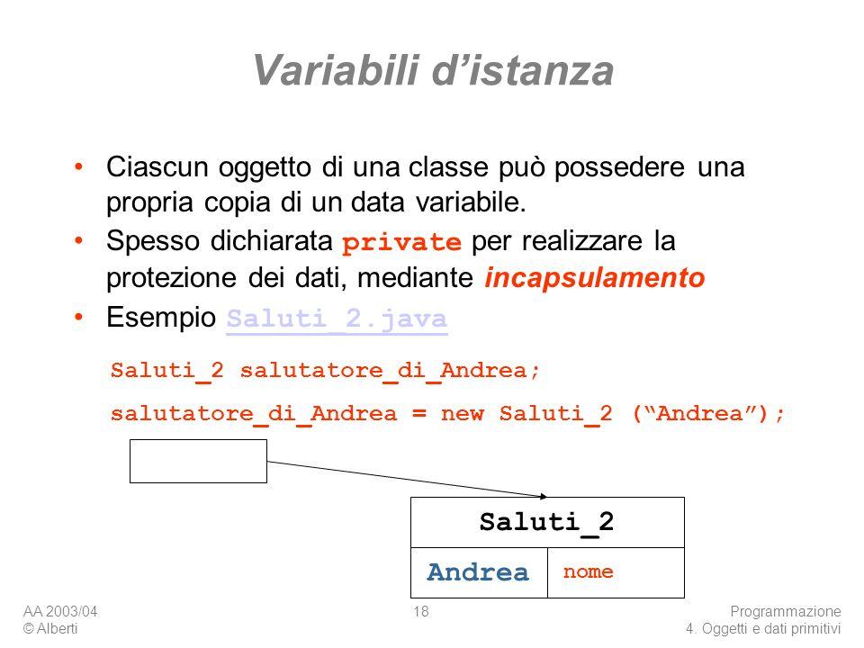 Variabili d'istanza Ciascun oggetto di una classe può possedere una propria copia di un data variabile.