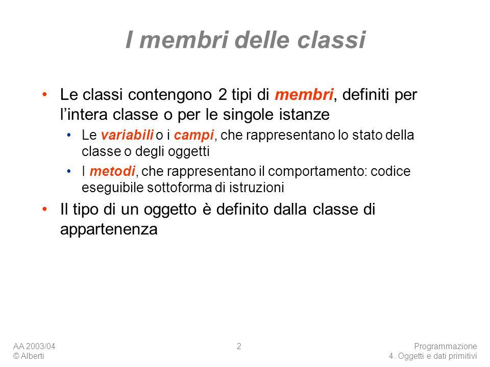 I membri delle classi Le classi contengono 2 tipi di membri, definiti per l'intera classe o per le singole istanze.