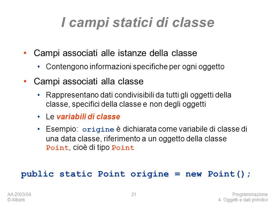 I campi statici di classe