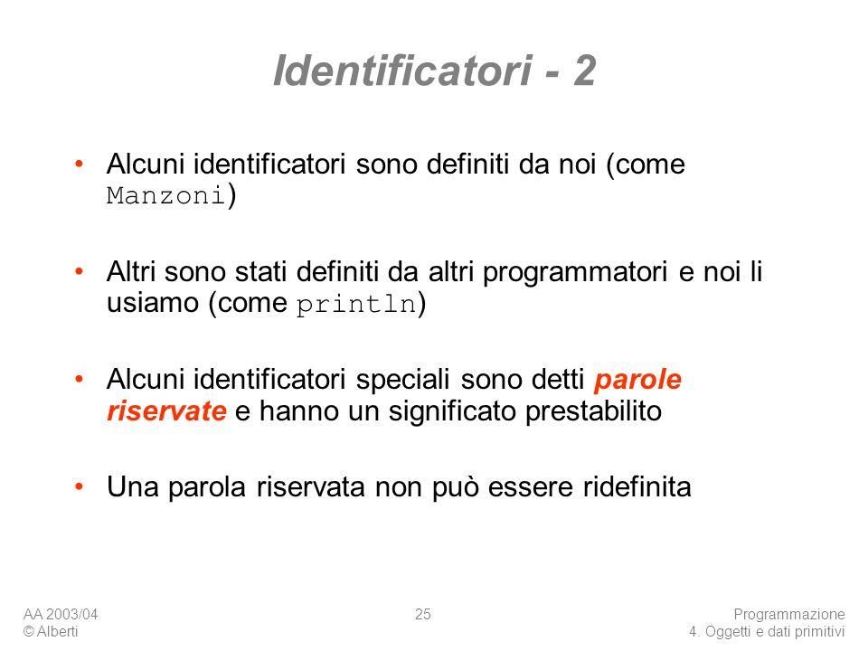 Identificatori - 2 Alcuni identificatori sono definiti da noi (come Manzoni)