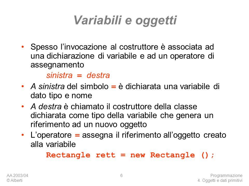 Variabili e oggetti Spesso l'invocazione al costruttore è associata ad una dichiarazione di variabile e ad un operatore di assegnamento.