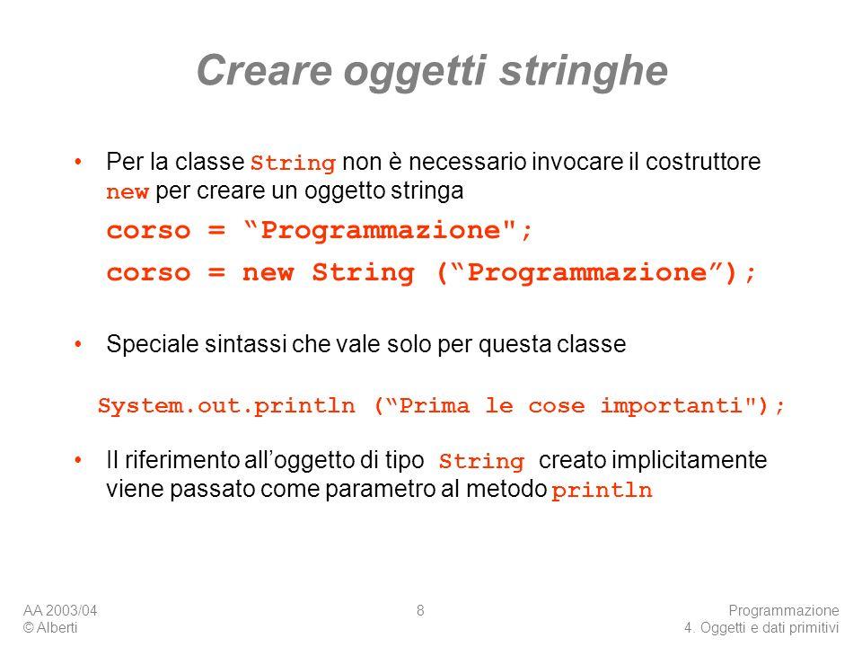 Creare oggetti stringhe