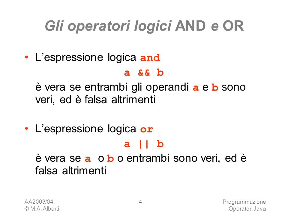 Gli operatori logici AND e OR