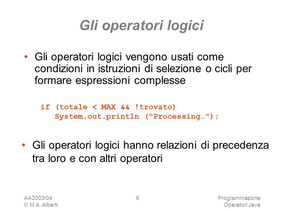 Gli operatori logici Gli operatori logici vengono usati come condizioni in istruzioni di selezione o cicli per formare espressioni complesse.