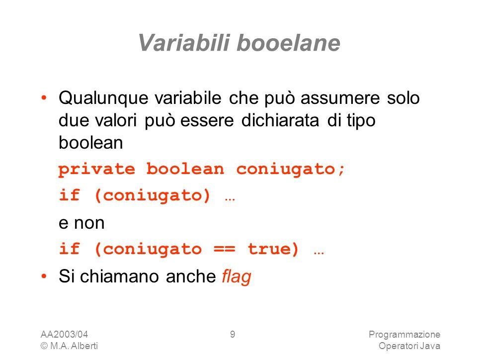 Variabili booelane Qualunque variabile che può assumere solo due valori può essere dichiarata di tipo boolean.