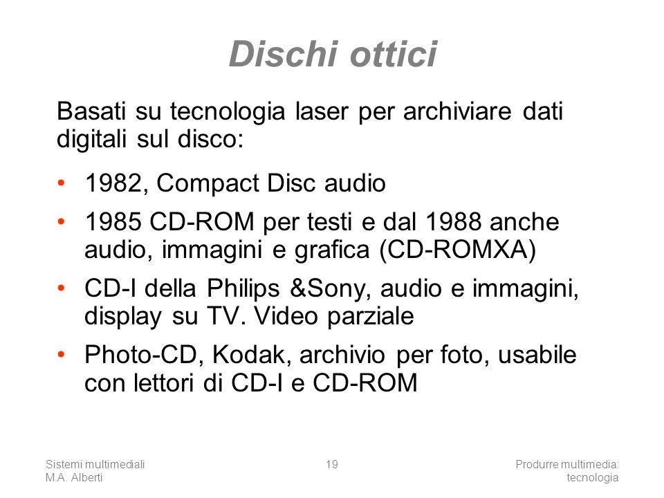 Dischi otticiBasati su tecnologia laser per archiviare dati digitali sul disco: 1982, Compact Disc audio.
