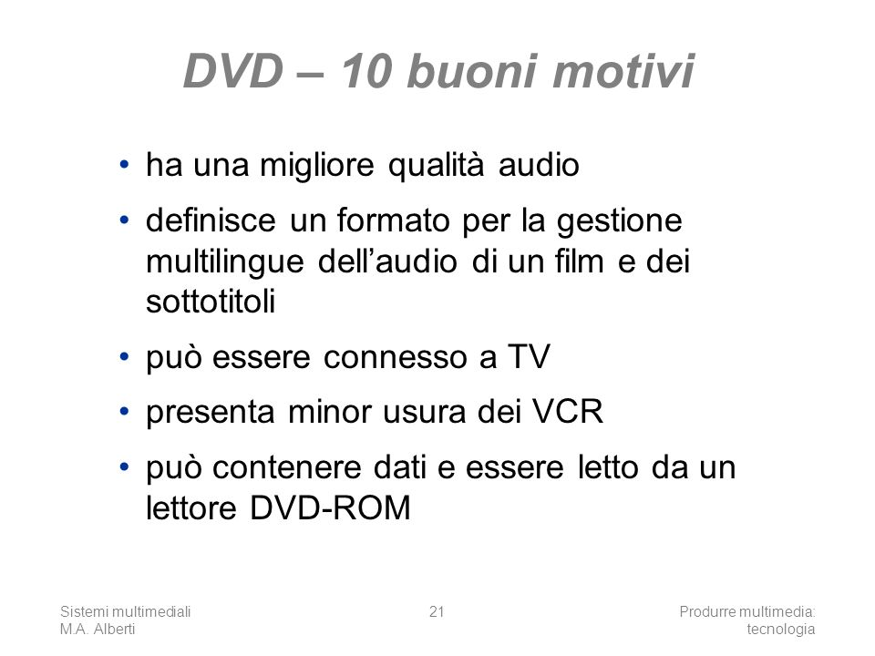 DVD – 10 buoni motivi ha una migliore qualità audio