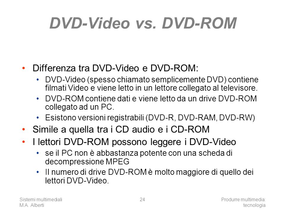 DVD-Video vs. DVD-ROM Differenza tra DVD-Video e DVD-ROM: