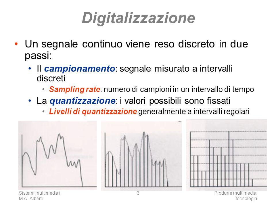 Digitalizzazione Un segnale continuo viene reso discreto in due passi: