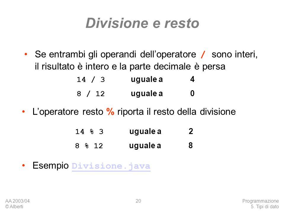 Divisione e restoSe entrambi gli operandi dell'operatore / sono interi, il risultato è intero e la parte decimale è persa.