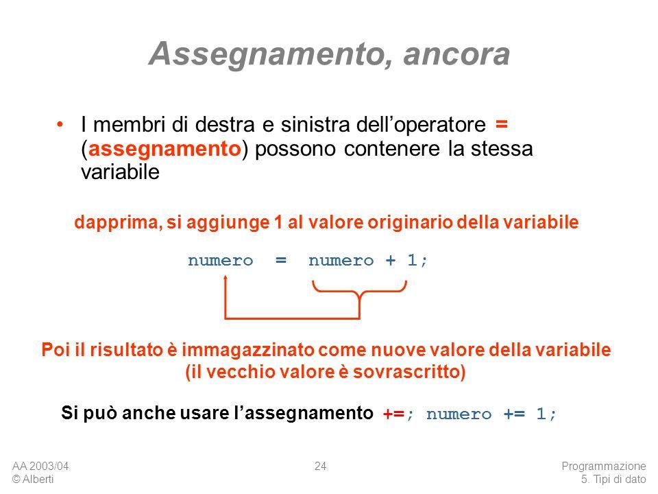 Assegnamento, ancoraI membri di destra e sinistra dell'operatore = (assegnamento) possono contenere la stessa variabile.