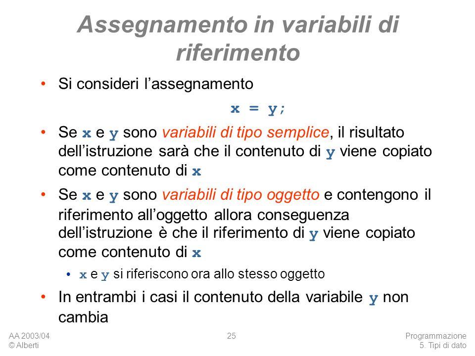 Assegnamento in variabili di riferimento