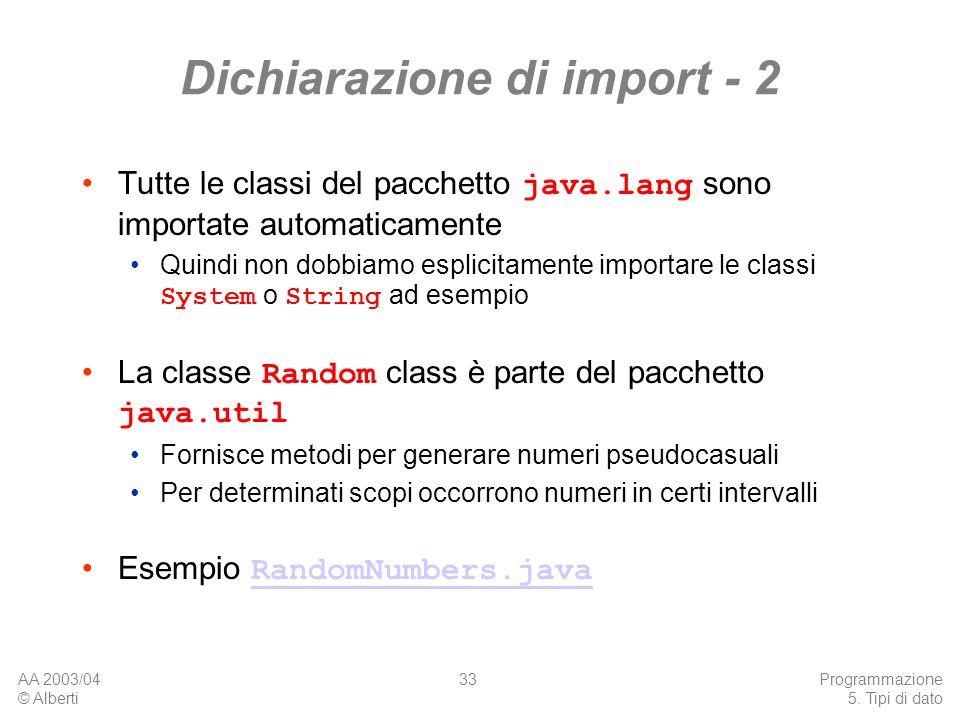 Dichiarazione di import - 2