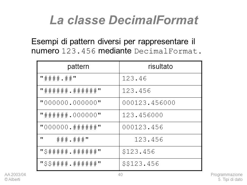 La classe DecimalFormat