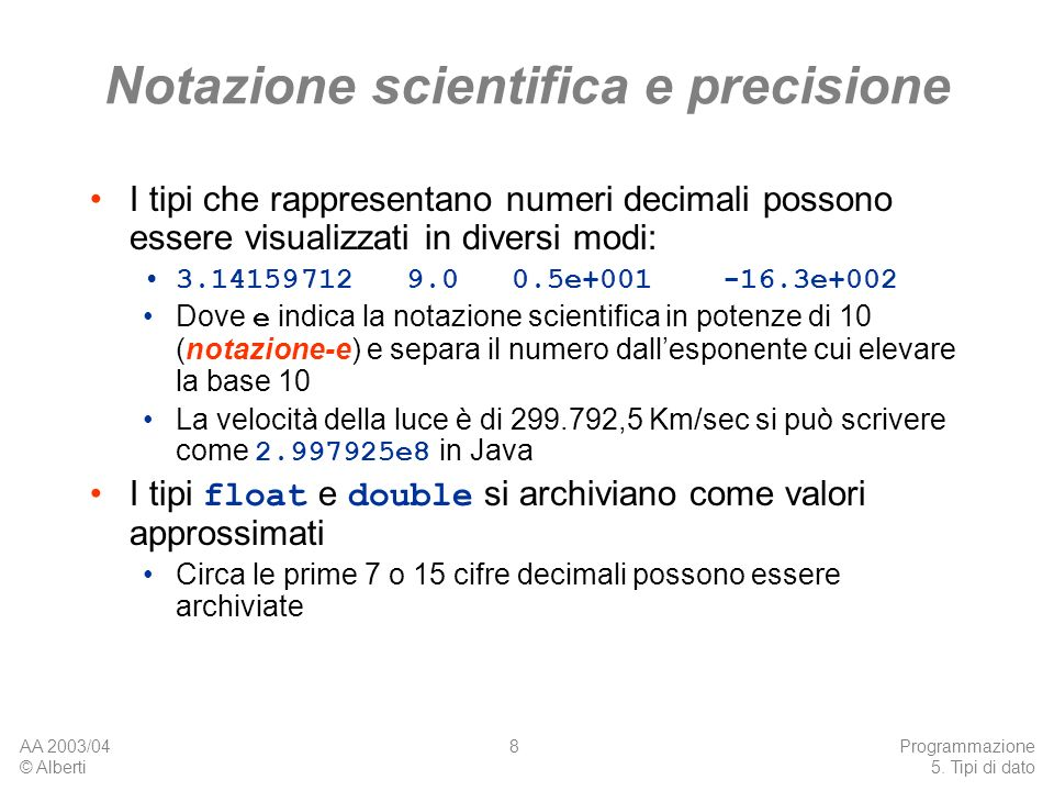 Notazione scientifica e precisione