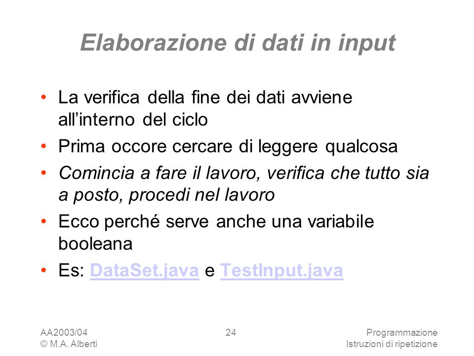 Elaborazione di dati in input