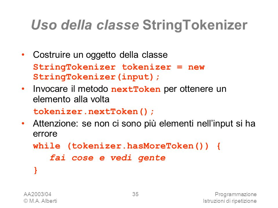 Uso della classe StringTokenizer