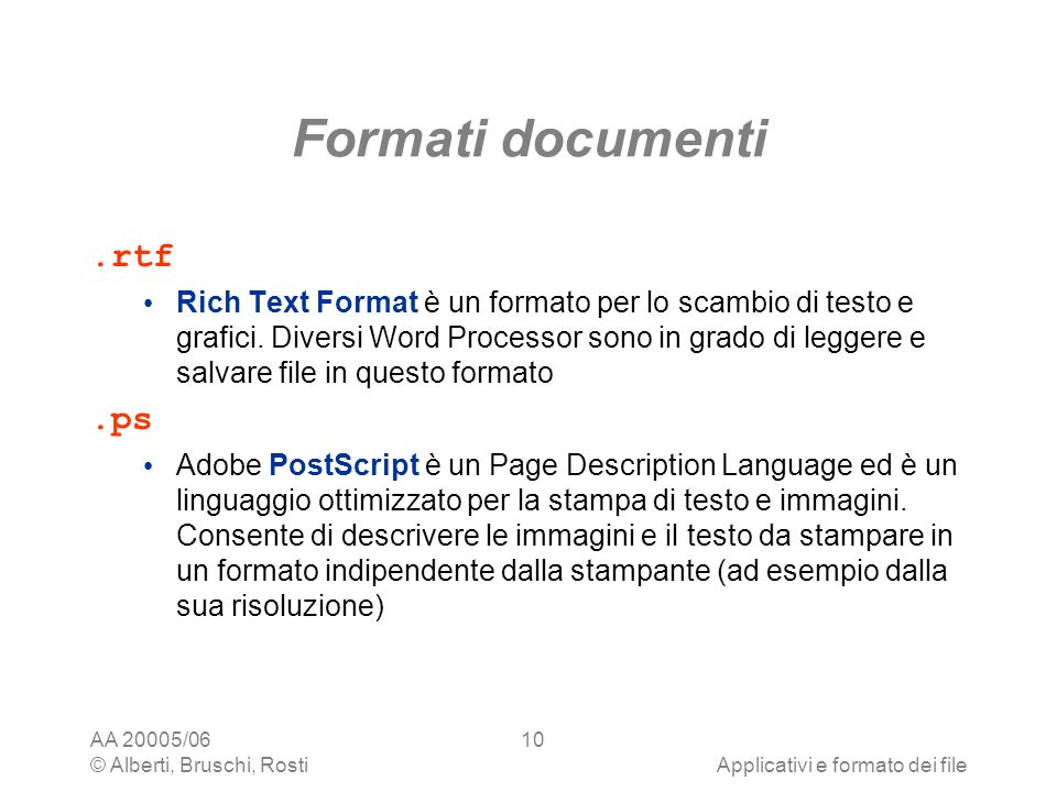 Formati documenti .rtf .ps