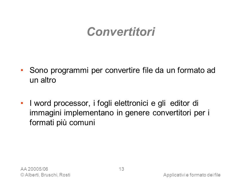 Convertitori Sono programmi per convertire file da un formato ad un altro.