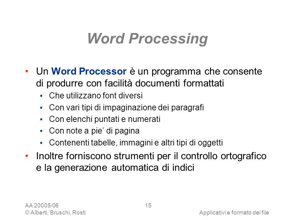 Word Processing Un Word Processor è un programma che consente di produrre con facilità documenti formattati.