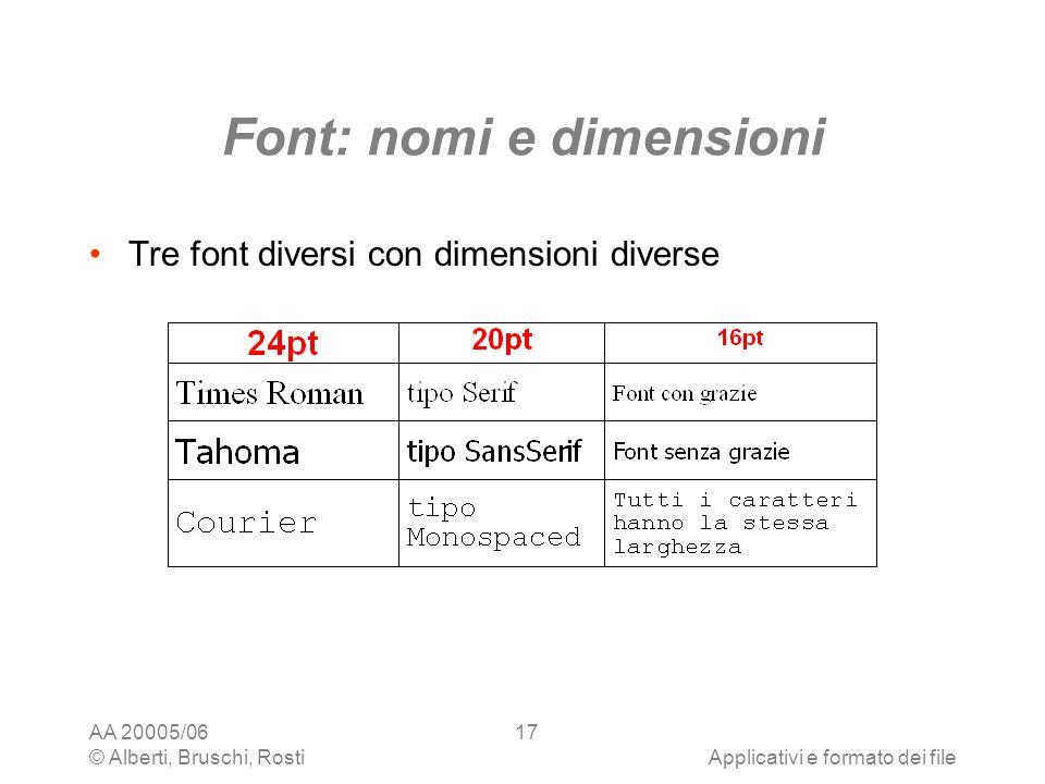 Font: nomi e dimensioni