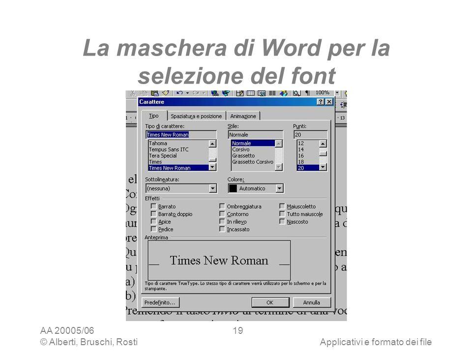 La maschera di Word per la selezione del font
