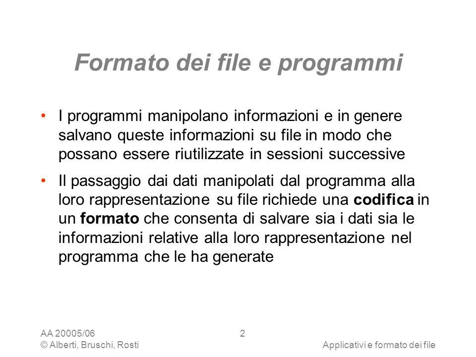 Formato dei file e programmi