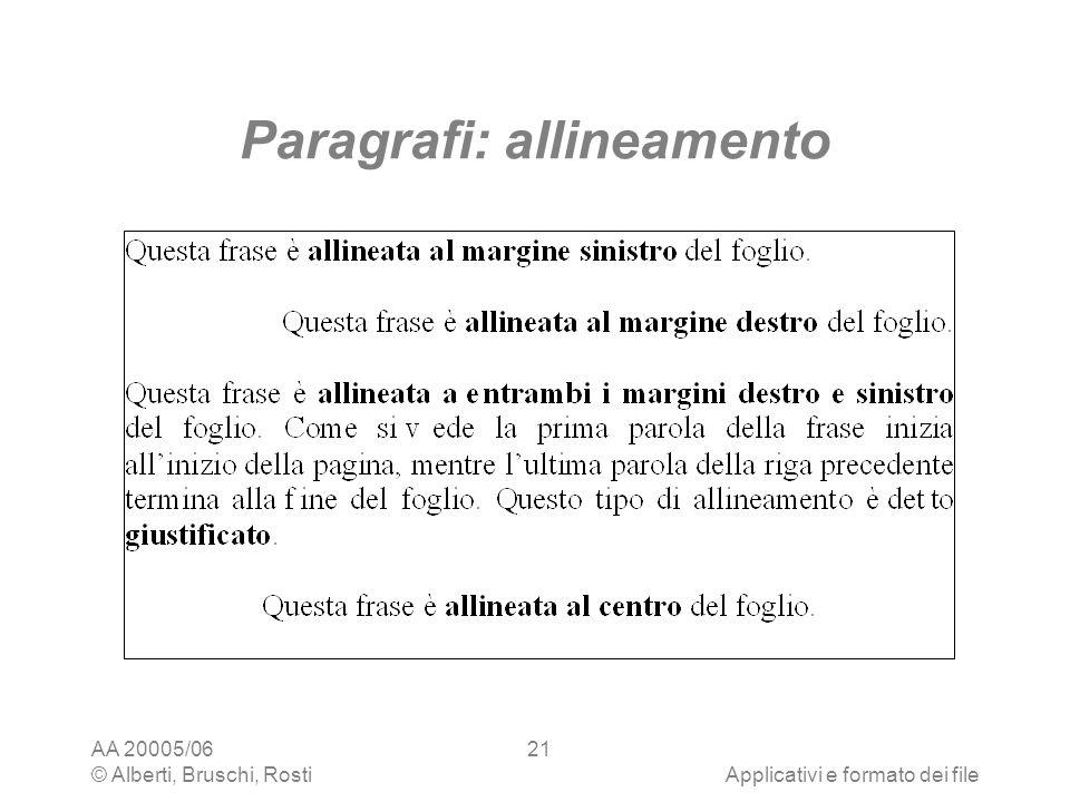 Paragrafi: allineamento