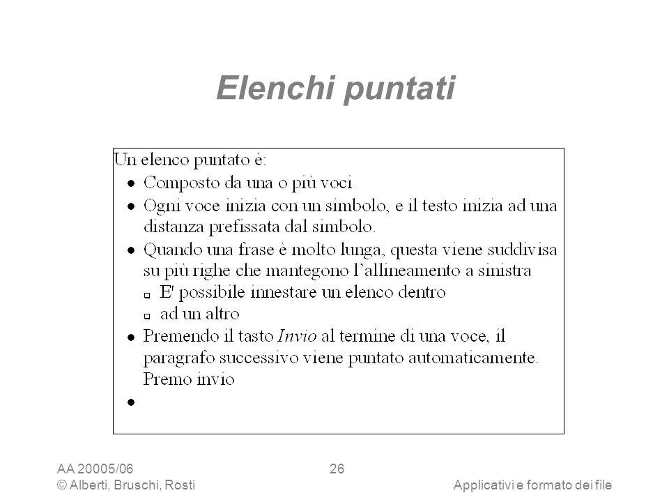 Elenchi puntati AA 20005/06 © Alberti, Bruschi, Rosti