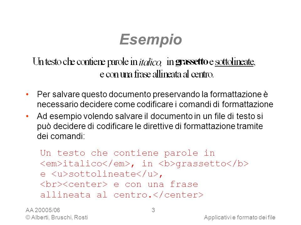 Esempio Per salvare questo documento preservando la formattazione è necessario decidere come codificare i comandi di formattazione.