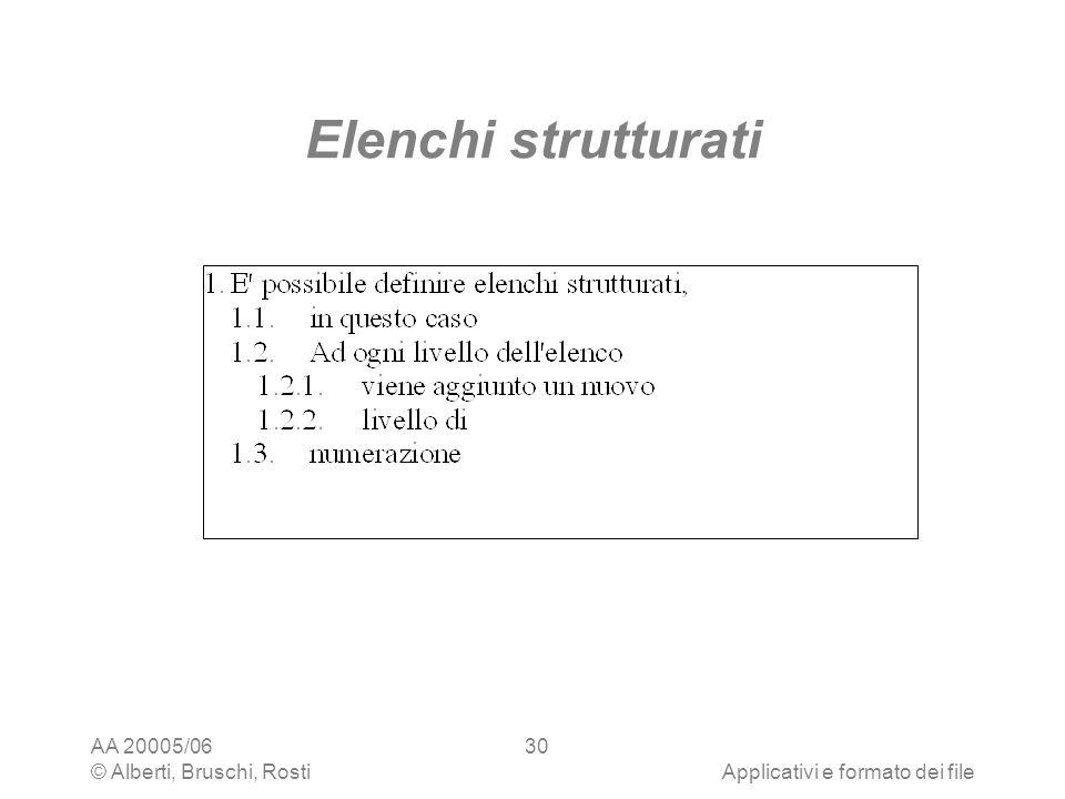 Elenchi strutturati AA 20005/06 © Alberti, Bruschi, Rosti