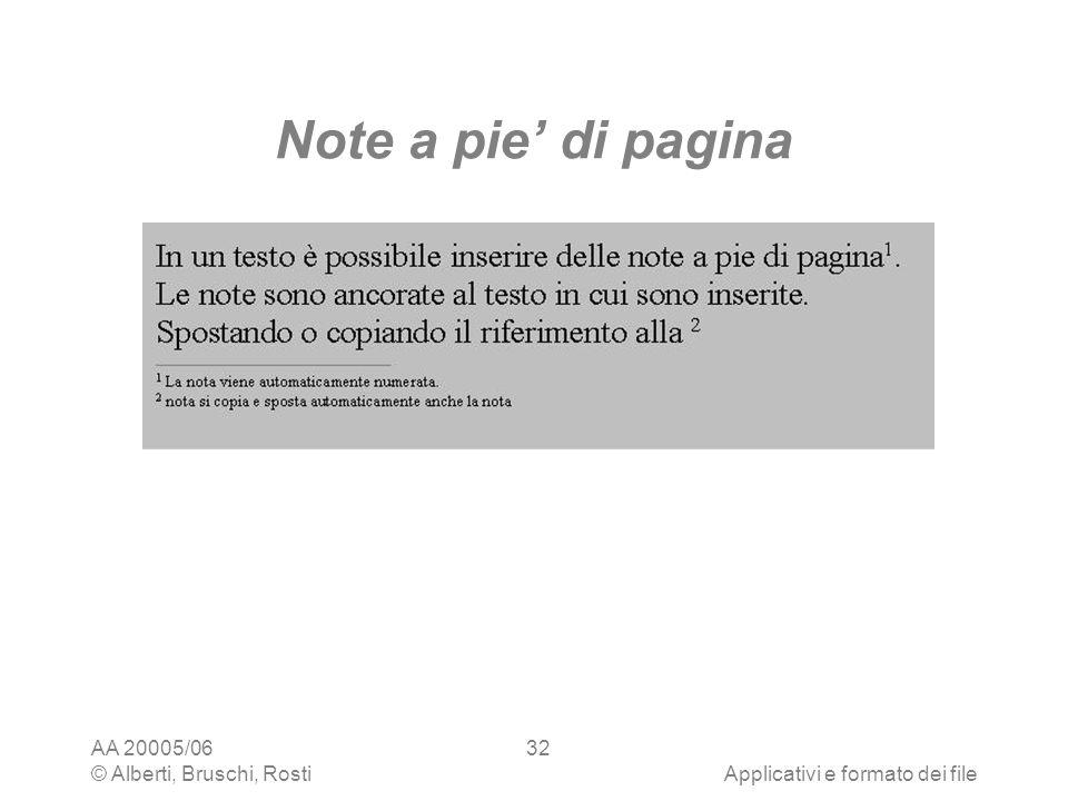 Note a pie' di pagina AA 20005/06 © Alberti, Bruschi, Rosti