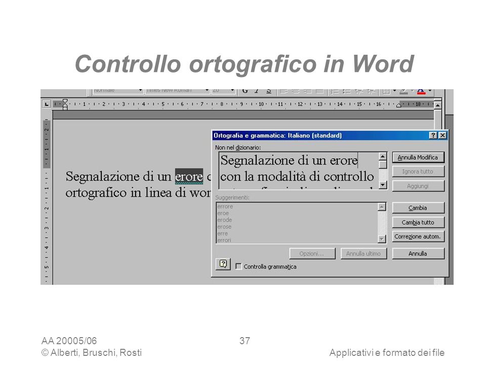 Controllo ortografico in Word