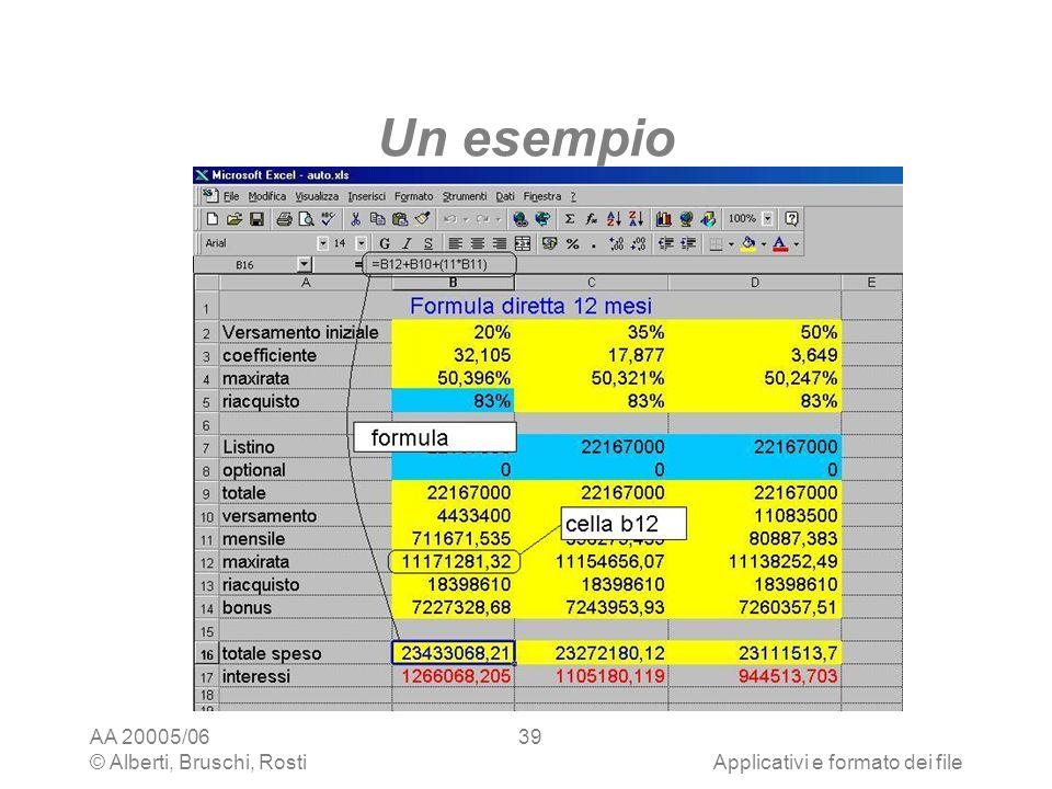 Un esempio AA 20005/06 © Alberti, Bruschi, Rosti