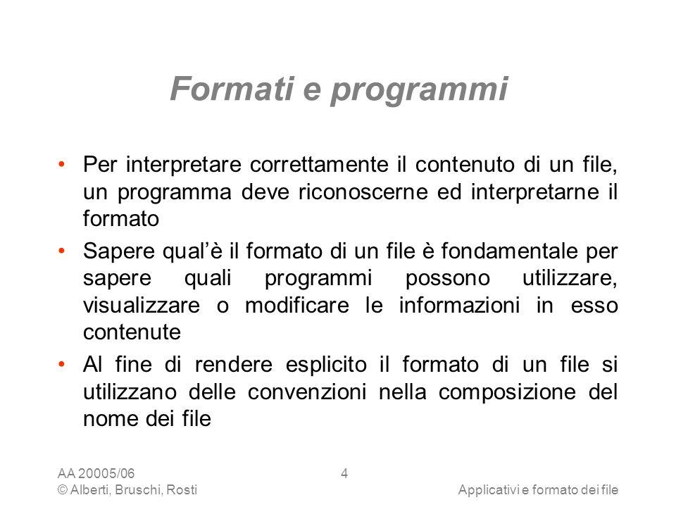 Formati e programmi Per interpretare correttamente il contenuto di un file, un programma deve riconoscerne ed interpretarne il formato.