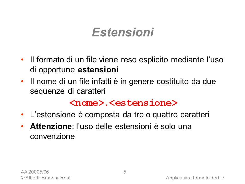 Estensioni Il formato di un file viene reso esplicito mediante l'uso di opportune estensioni.