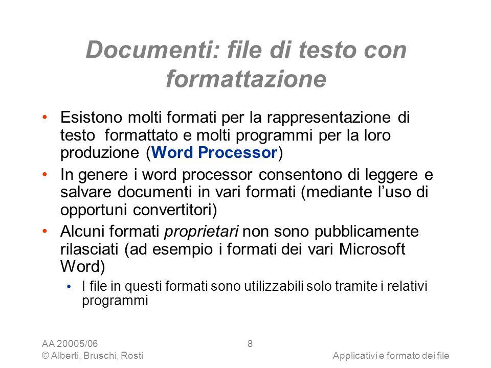 Documenti: file di testo con formattazione