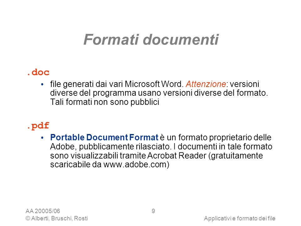 Formati documenti .doc .pdf
