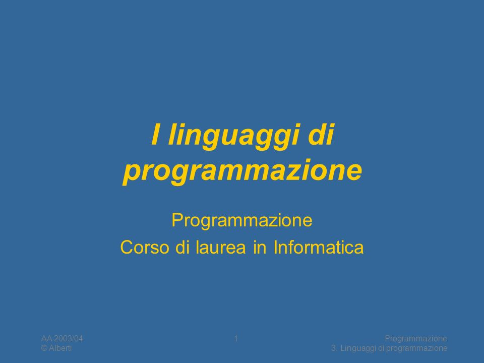 I linguaggi di programmazione