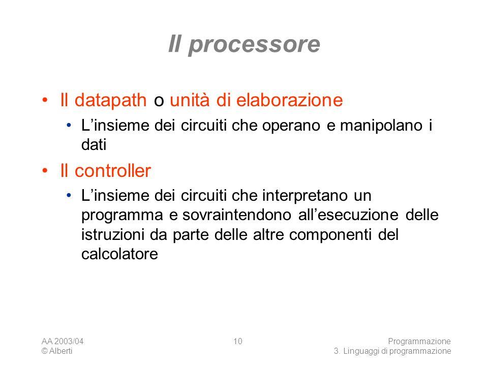 Il processore Il datapath o unità di elaborazione Il controller