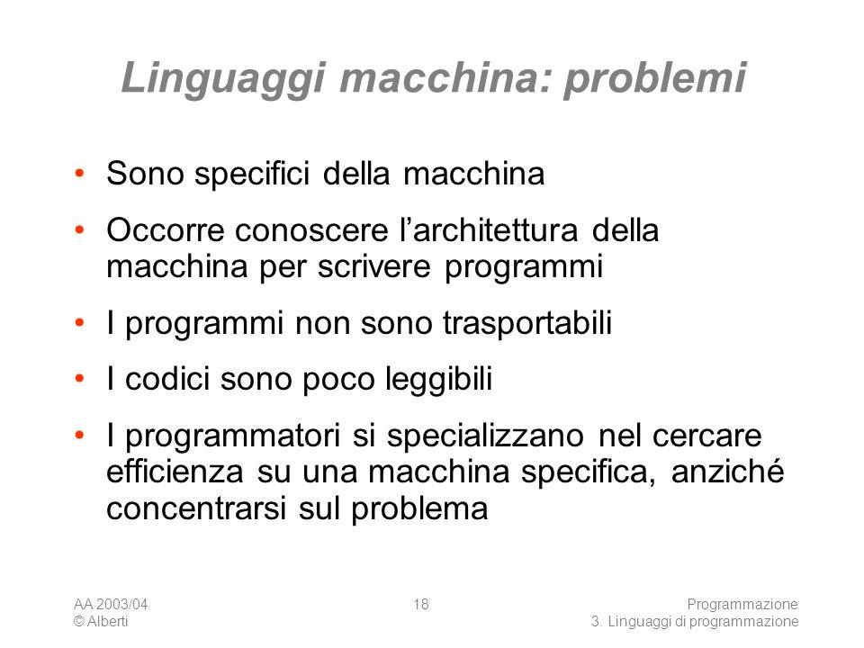 Linguaggi macchina: problemi
