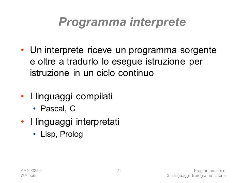 Programma interprete Un interprete riceve un programma sorgente e oltre a tradurlo lo esegue istruzione per istruzione in un ciclo continuo.