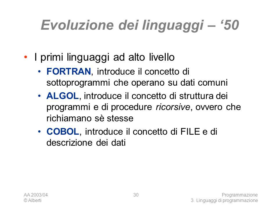 Evoluzione dei linguaggi – '50