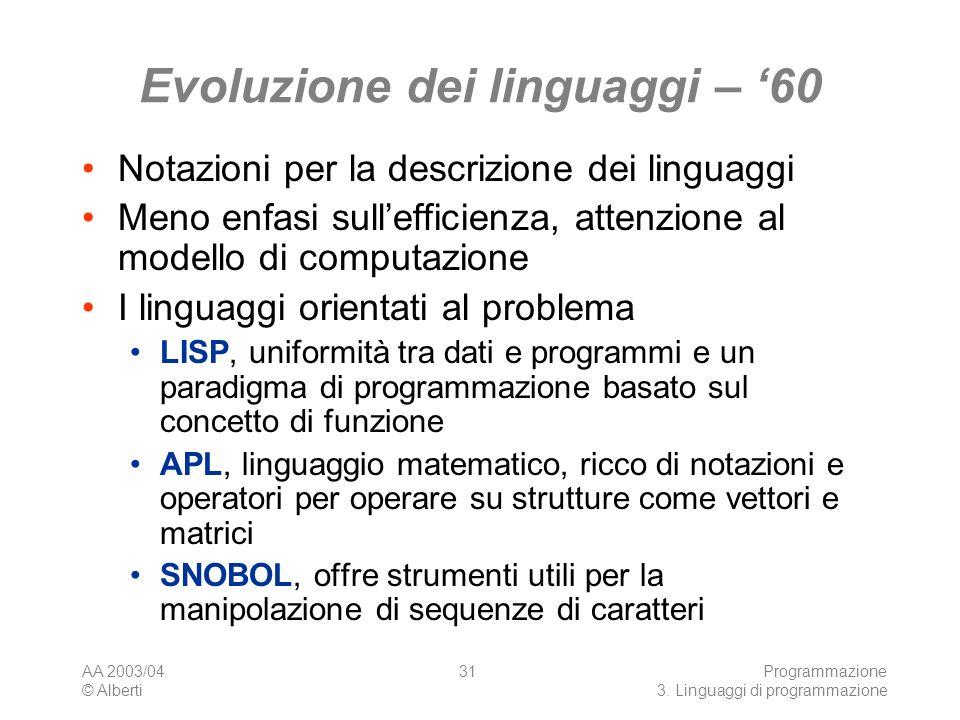 Evoluzione dei linguaggi – '60