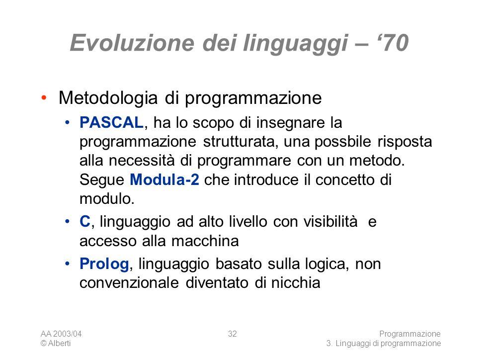 Evoluzione dei linguaggi – '70
