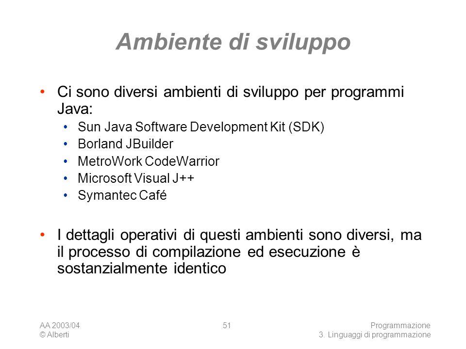 Ambiente di sviluppo Ci sono diversi ambienti di sviluppo per programmi Java: Sun Java Software Development Kit (SDK)
