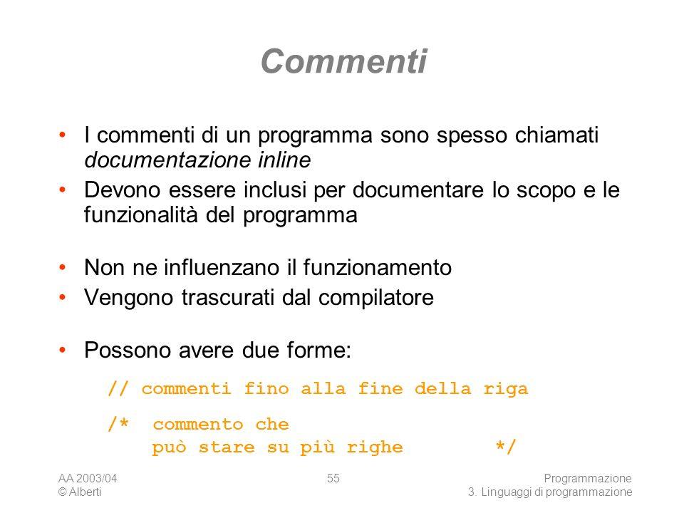 Commenti I commenti di un programma sono spesso chiamati documentazione inline.